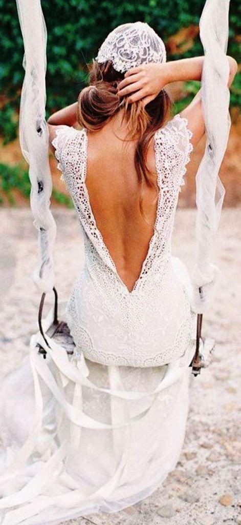Boho beach bride's casual down bridal hair ideas Toni Kami Wedding Hairstyles ♥ ❶ Beautiful lace dress plunging back wedding gown