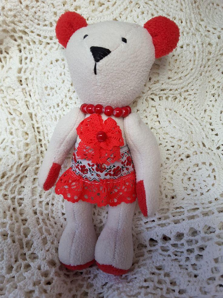Handmade Teddy bear, fabric teddy bear in Ukrainian traditional style , textile doll handmade in Ukraine ready to ship by royalknitting on Etsy