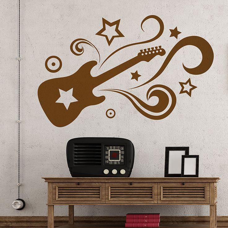 17 mejores ideas sobre pared de guitarras en pinterest for Vinilos decorativos pared musicales