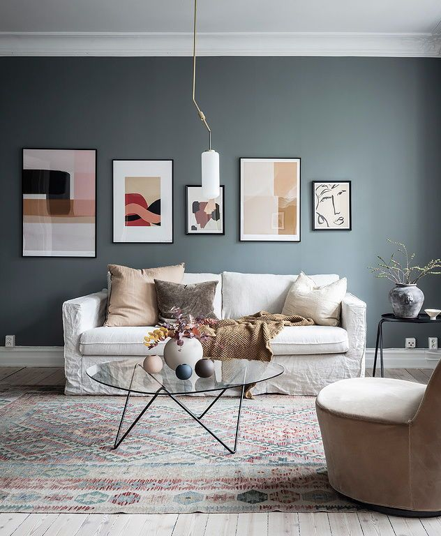 Home With Dusty Blue And Beige Walls Blue Living Room Beige