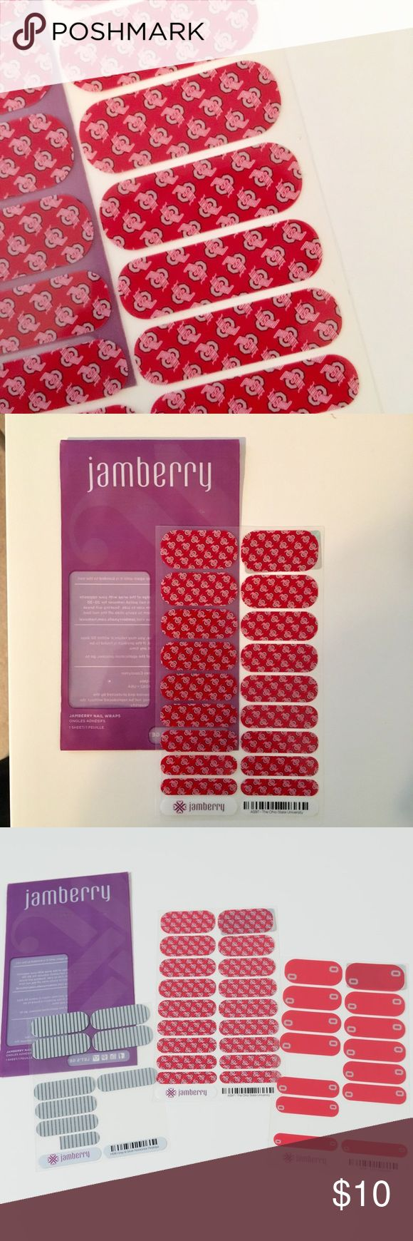 THE Ohio State University Jamberry Nail Wraps NEW Buckeye fans here's something fun for game day! NWT OSU Jambery nail wraps. I'm also throwing in a partial sheet of OSU Buckeyes wraps and the gray and silver horizontal pinstripe. Jamberry Makeup