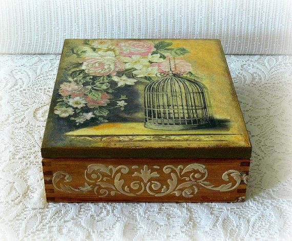 Wooden decoupage box , large tea box , jewelry box ,wooden tea box, vintage style box , bird cage , pink flowers