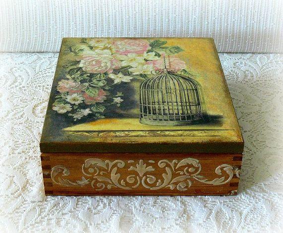 Wooden decoupage box , large tea box , jewelry box ,wooden tea box, vintage style box , bird cage , pink flowers