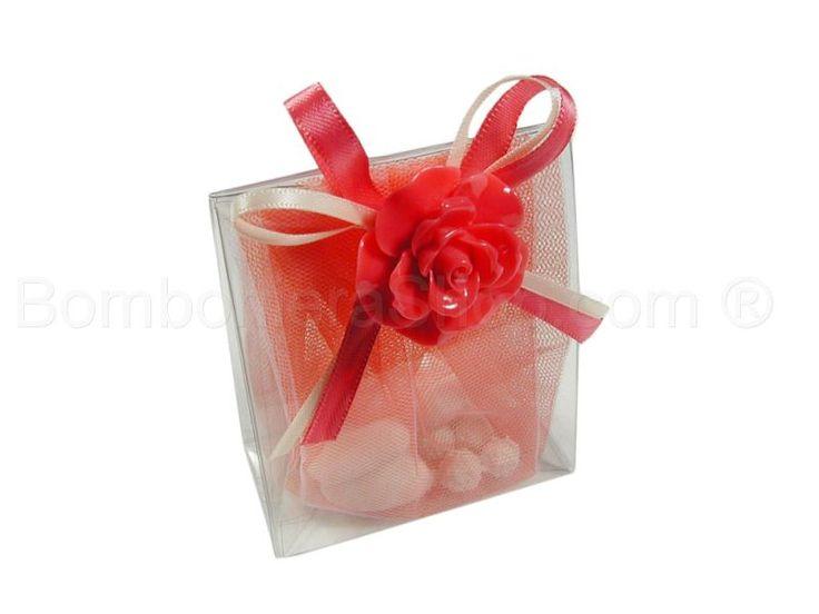 Bustina in pvc con applicazione bocciolo di rosa colore corallo
