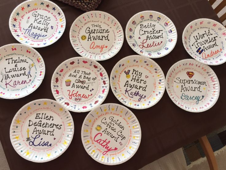Paper plate awards for adult friends!