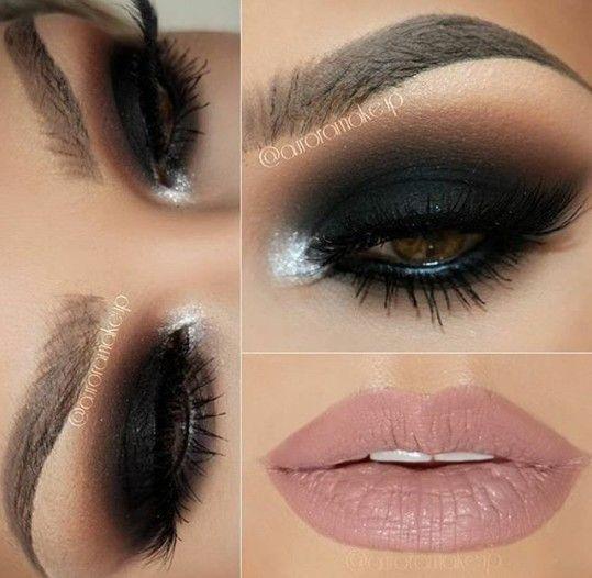 Smoky eye with a nude lip, stunning makeup look.