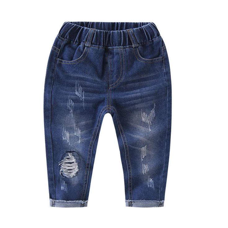 2017 Autumn Fashion Casual Jeans for Girls Solid Light Wash Mid Elastic Waist Girls Jeans Pants Hole Out Boys Jeans