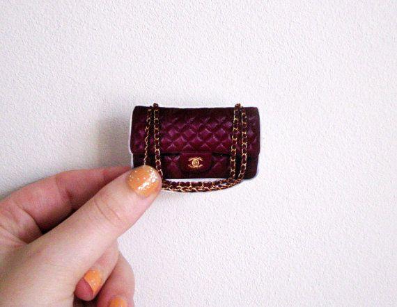 Purple Chanel bag brooch / shrinking plastic by invisiblecrown, €8.95 , www.CheapMichaelKorsHandbags#com  michael kors handbags Canada, discount michael kors bags wholesale, michael kors bags sale, cheap michael kors handbags outlet,