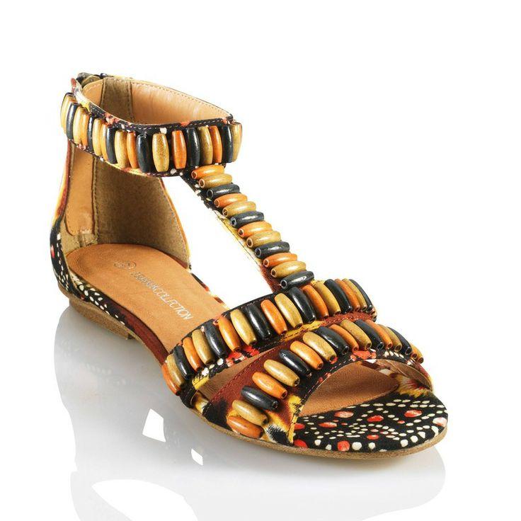 Platte sandalen met houten parels