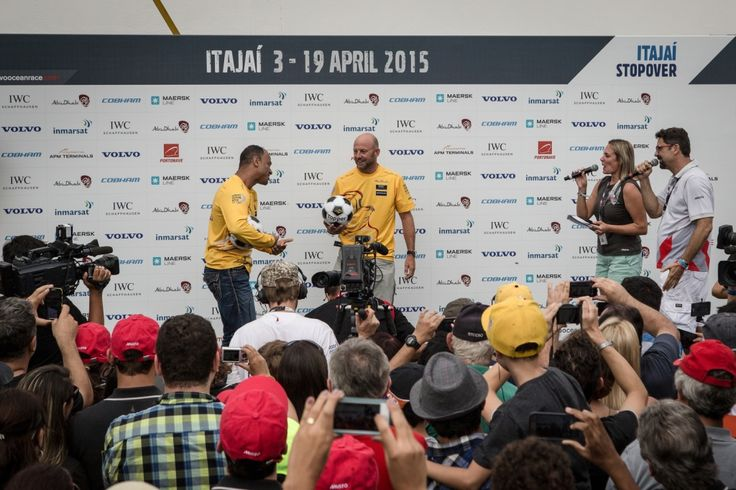 April 18, 2015. Itajai Stopover; Brazilian football player, Cafu, spends In-Port Race day with Abu Dhabi Ocean Racing. Cafu and Ian Walker take to the stage for a public keepy-uppy competition Vincent Arens / Volvo Ocean Race