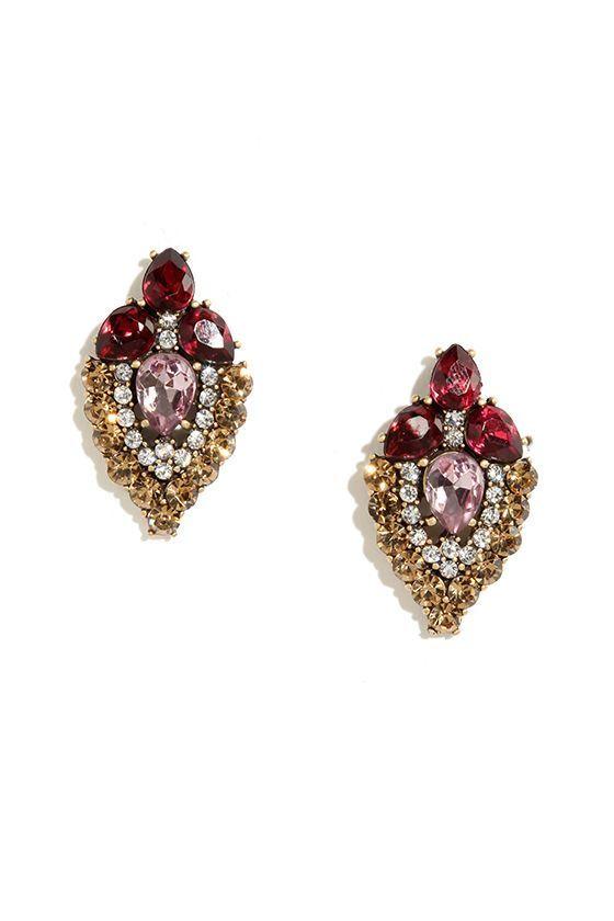 Napa Vineyard Berry Red Rhinestone Earrings