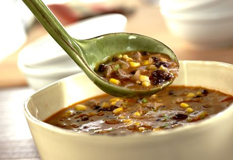 Golden corn, black beans and beef chuck slow-cook together with Pace® salsa for a savory, southwestern stew.