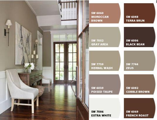 Colores Revestimientos, Acabados Colores, Colores Paredes, Combinación Colores, Paleta Colores, Pasillo Empapelado, Pasillo En, Pasillos, Escaleras
