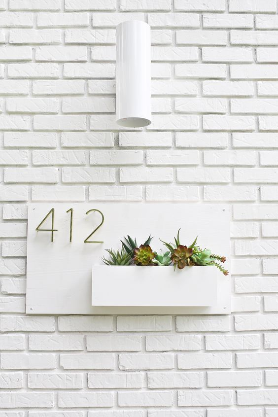 Modern House Number Planter