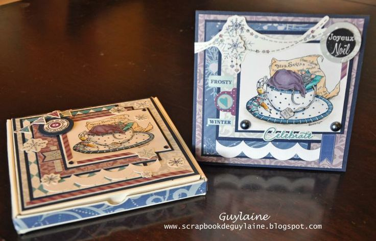 Combo carte et Boitatou, création de Guylaine Seyer. A Christmas card and its box created by Guylaine Seyer.