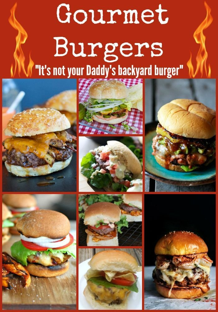 12 of the best gourmet burgers - Kicked up Beef Burgers, Turkey Burgers, Seafood Burgers and a great burger bar!