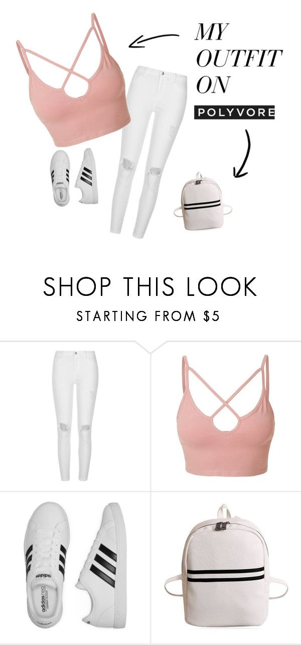 """basic white girl"" by heddastoltnielsen on Polyvore featuring River Island, LE3NO and adidas"