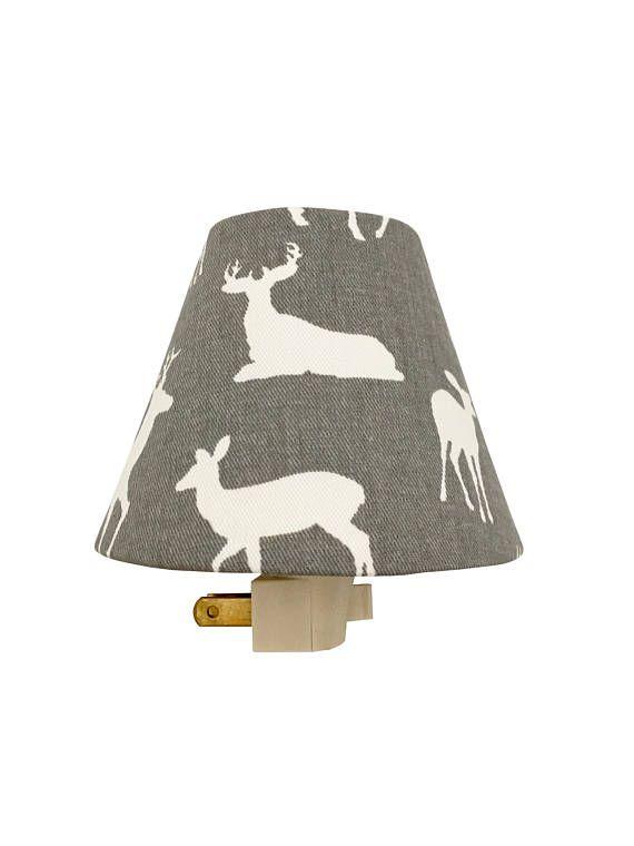 Grey Woodland Deer Night Light Grey Night Light-Nursery