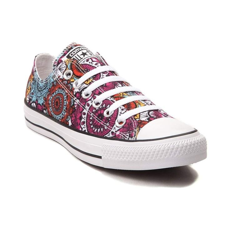 You'll be a bohemian beauty with the new Chuck Taylor All Star Lo Mandala Sneaker from Converse! These crazy-cool Chucks feature a low-top design constructed with breathable canvas uppers, vibrant Mandala prints, and signature Chucks rubber cap-toe. <b>Available for shipment in July; Only available at Journeys and SHI by Journeys!</b>  <br><br><u>Features include</u>:<br> > Low top style constructed with durable canvas uppers<br> > Lace-up closure offers a secure fit<br> > Chucks rubber toe…