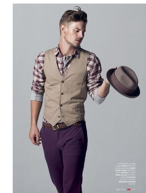 Shop this look for $231:  http://lookastic.com/men/looks/dress-shirt-and-vest-and-belt-and-jeans-and-hat/1009  — Burgundy Plaid Dress Shirt  — Tan Waistcoat  — Brown Leather Belt  — Violet Jeans  — Grey Hat