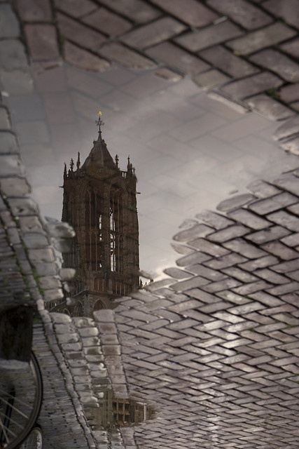 Lovely picture of the reflection of the Dom tower, Utrecht