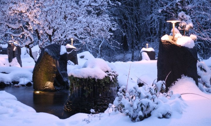 www.facebook.com/stonepeoplellc - snow in the PNW!  Goes well with the copper lights and peaceful ponds!  www.stonepeoplellc.com