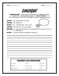 This introduction to dialogue teaches the use of quotation marks and speaker's tags. Students must rewrite a script-style conversation in appropriate dialogue format.