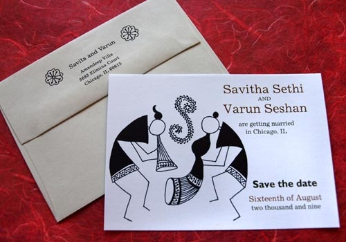 Warli (tribal art) save the date