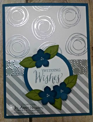 Wedding card using Swirly Bird and silver embossing. Sentiment from Rose Wonder.