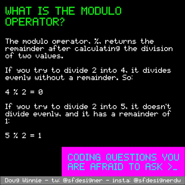 What is the modulo operator? #questions #coding #programming