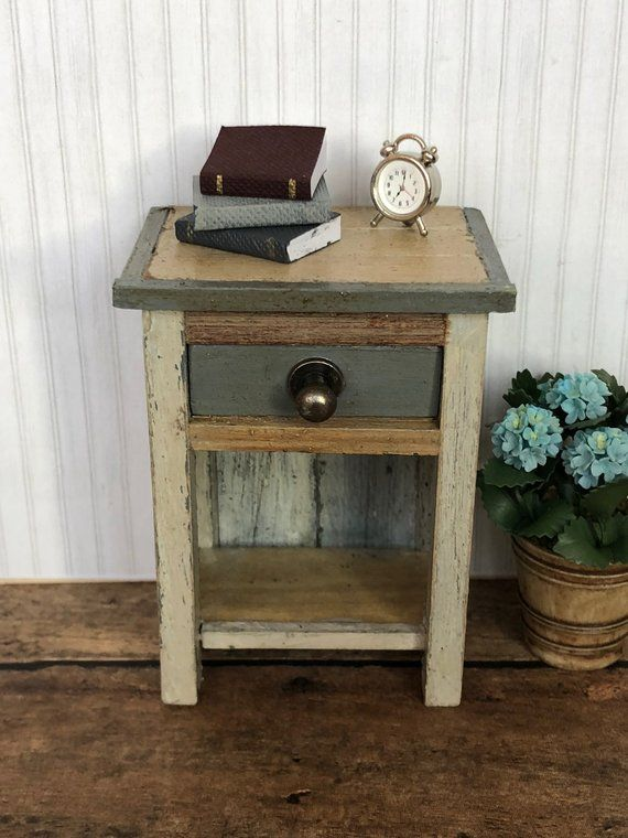 Miniature Cottage Style Side Table Nite Dollhouse Tables Furniture