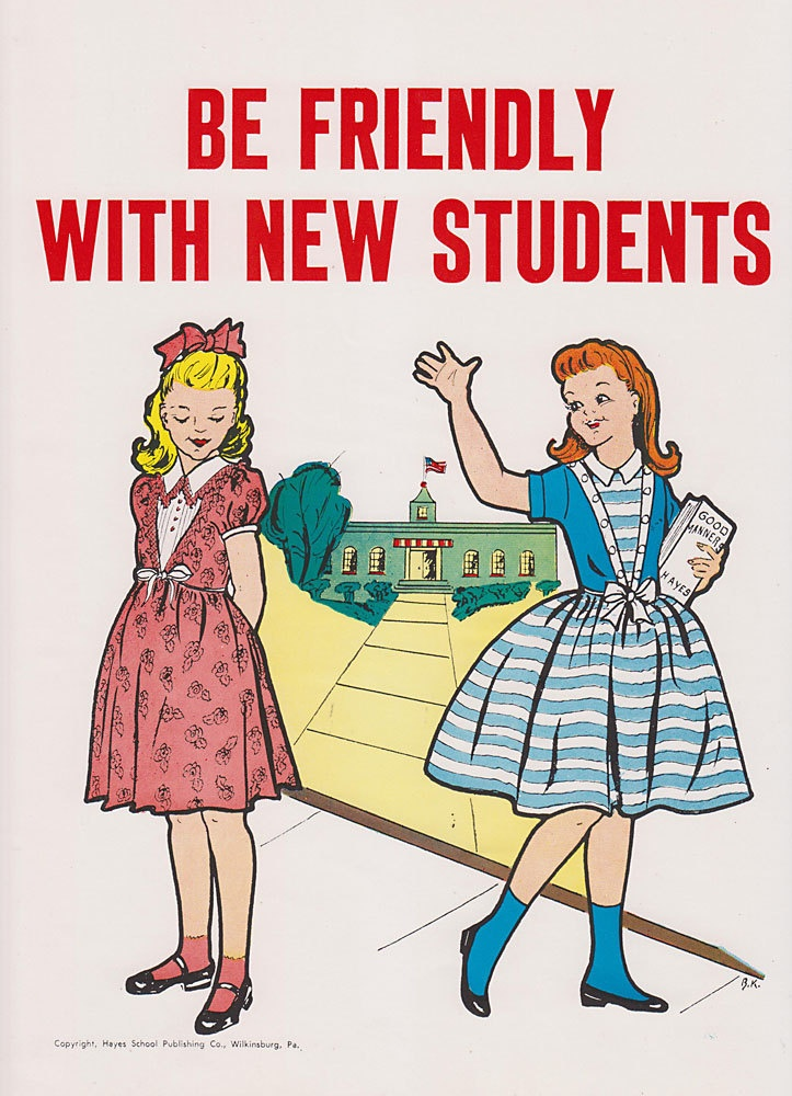 Vintage School Poster - Be Friendly With New Students - Good Manners Illustration - 1959.