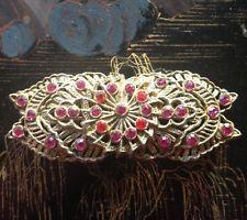 винтажный Золотой металлический бар брошь с розовым ЧЕШСКОЙ кристаллы