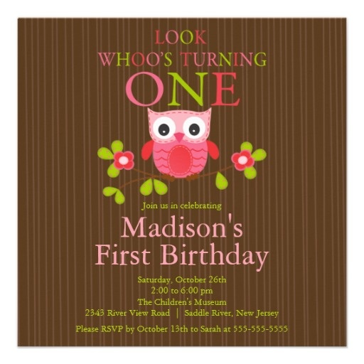 Look Whoo's Turning One Cute Modern Owl 1st Birthday Party Invitations Brown and Pink Square Invite