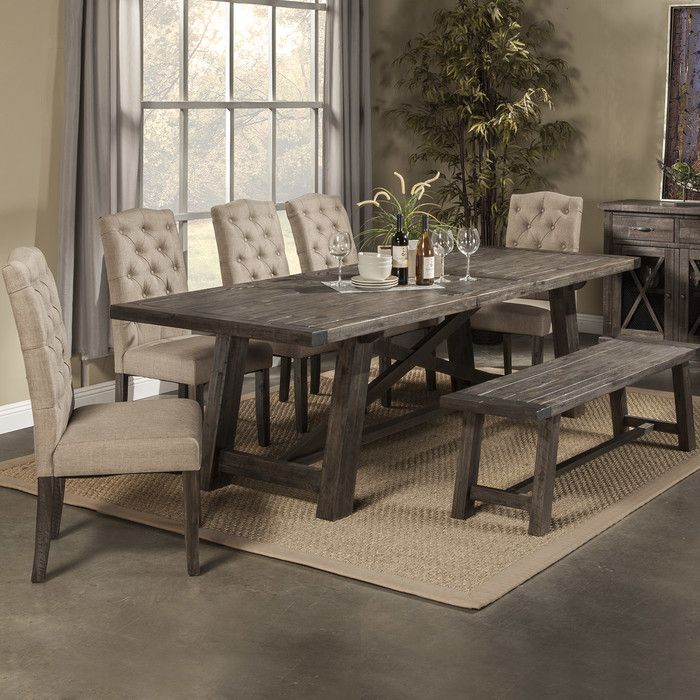 Features:  -Removable leaf.  -Chairs included: No.  Top Finish: -Salvaged Grey.  Base Finish: -Grey.  Distressed: -Yes.  Top Material: -Wood.  Base Material: -Wood.  Inlay Material: -Wood.  Style (Old