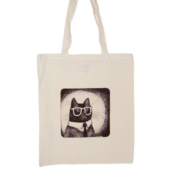 cat in glasses canvas shopper bag cotton long handles by zyzanna