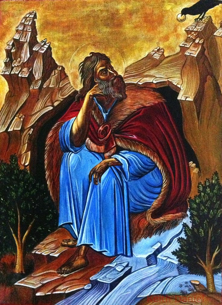 Prophet Elijah icon reproduction(miniature copy) Keith Daniel- Oil on  6. 5  x 9 inches on wood panel . The original painting is 17th century and in the Athens museum of Byzantium art. The original size is about 4 feet by 6 feet.