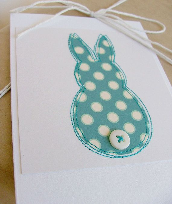Bunny greeting card in turquoise perfect new baby card by moonmum