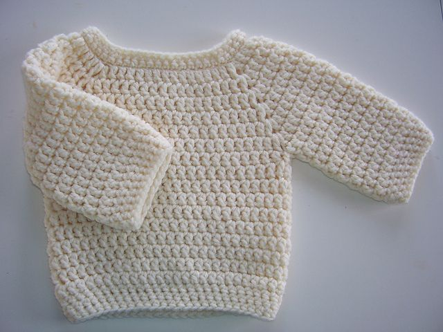 DIY Basic Crochet Baby Sweater - FREE Pattern / Tutorial: