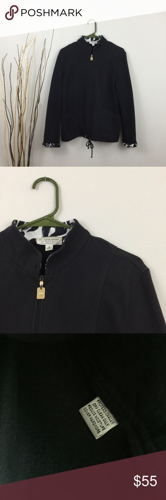 St.John Sport Black Zip Up Jacket This jacket is in excellent condition! No damage like holes or stains. No trades. Smoke and pet free home. Offers welcome! St. John Jackets & Coats