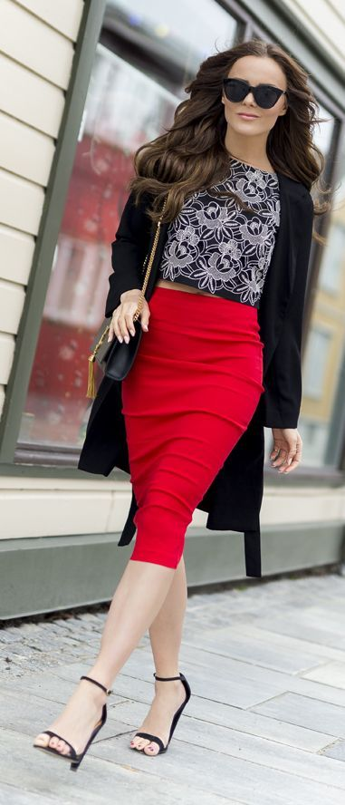 Red Pencil Skirt Chic Style