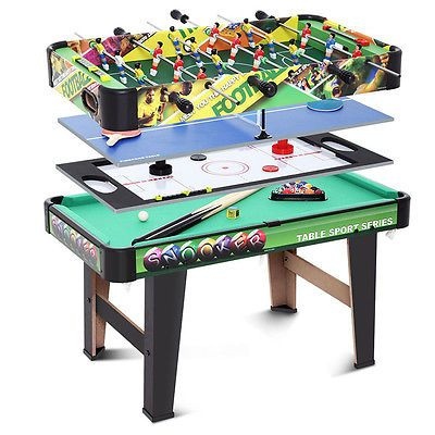 4 In 1 Multi Game Table Combo Kits Snooker/Pool /Football /Air Hockey  /Tennis