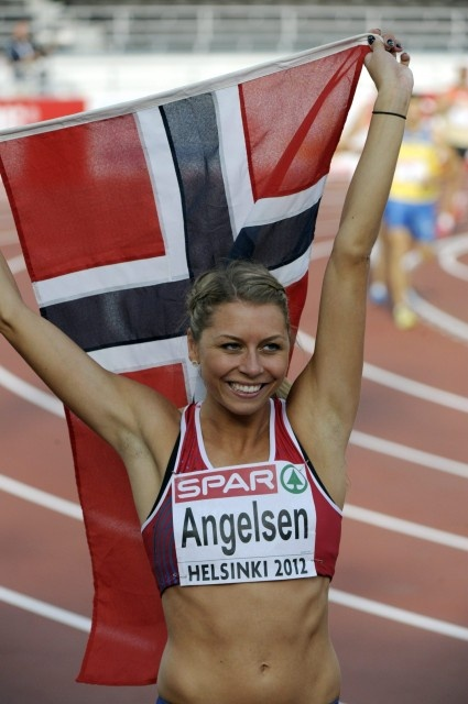 Day 2: Norway's Tonje Angelsen after women's high jump final at the European Athletics Championships Helsinki 2012 in Helsinki on Thursday, 28th June, 2012.