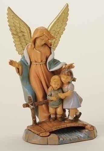 "This detailed 6.7""guardian angel reminds us that there are always eyes on our children. This piece is made of unbreakable polymer, which makes it a wonderful gift for grandchild, children or Godchildren. Item# 65526. @Fontanini"