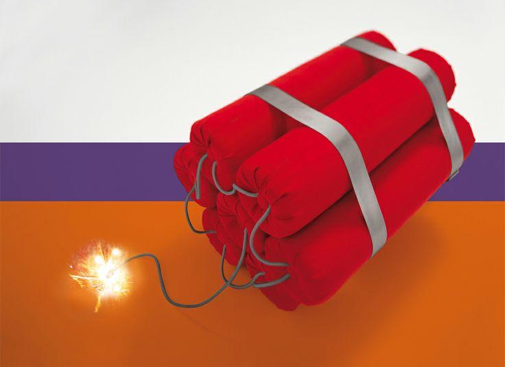 Immagine Rendering 3D ed illustrazione dinamite composta da coperte che stanno per esplodere. Studio grafico, realizzazione grafica packaging a Treviso, Padova e provincie.