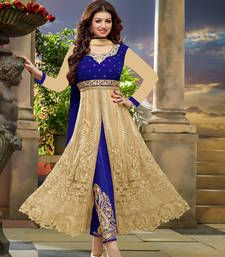 Buy Blue  and  Cream  velvet Net Semi Stitched  Anarkali salwar with dupatta anarkali-salwar-kameez online