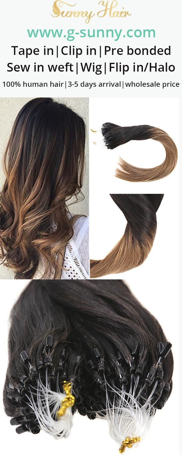 Sunny Hair 100 Remy Human Extensions Micro Ring Black