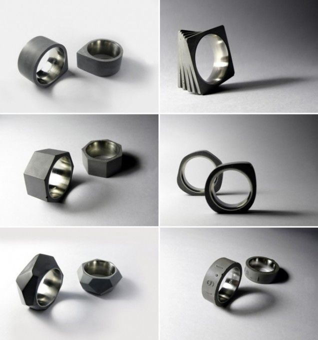 Concrete jewelry: the rings are made by 22designstudio which was founded by Sean Yu and Yiting Cheng – both graduates from the Industrial Design Department of National Cheng Kung University in Taiwan