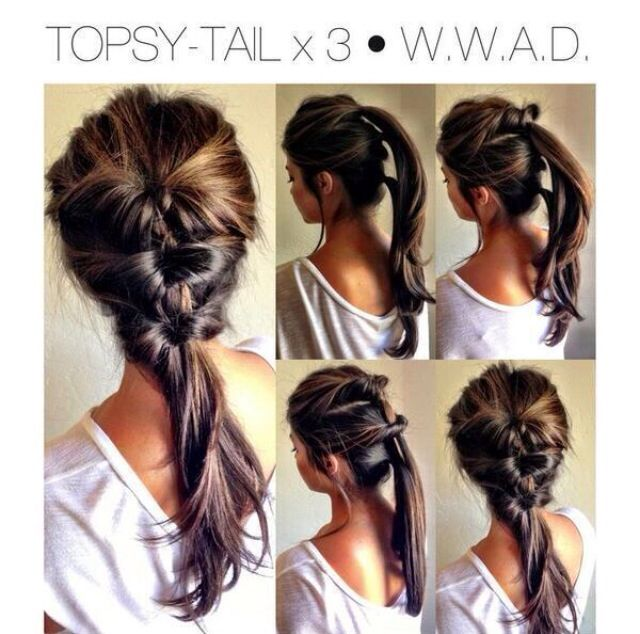 I did this to my hair for graduation (it made wearing the cap easier), except I looped the pony tails as I went.