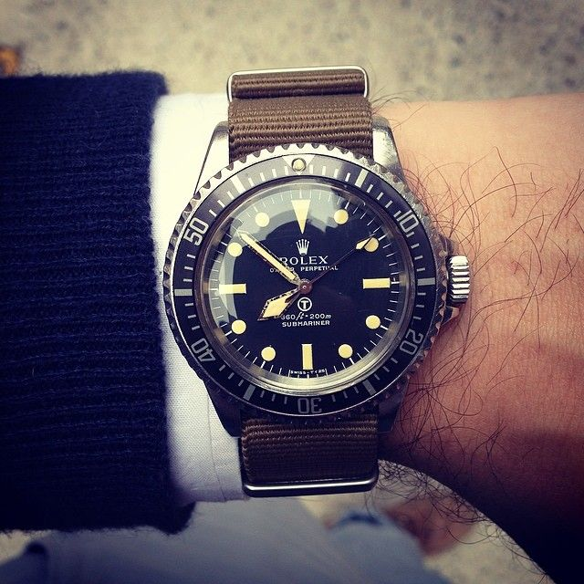 Rolex 5513 vintage milsub submariner on nato strap
